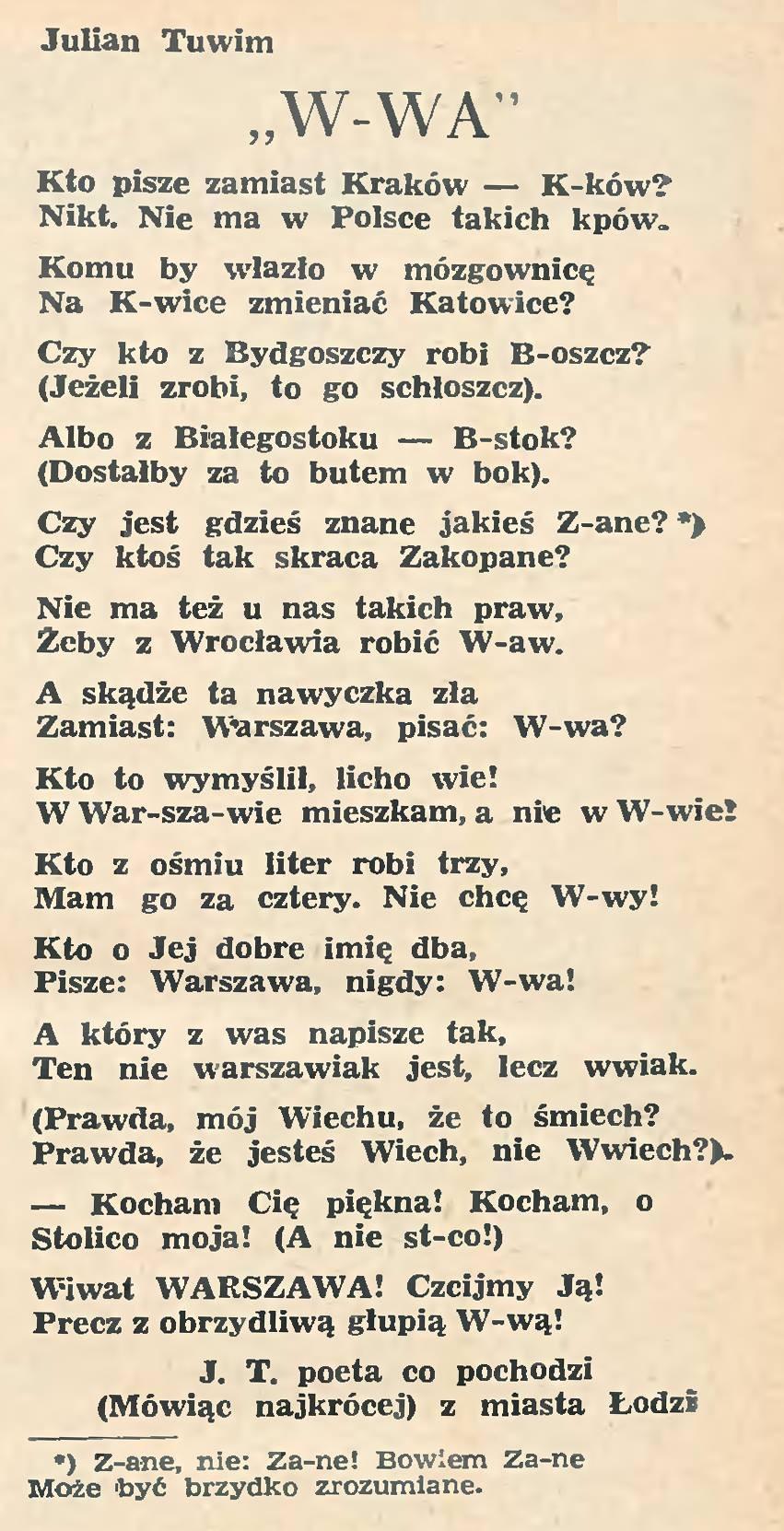 Kto Z Ośmiu Liter Robi Trzy Mam Go Za Cztery Warszawa W
