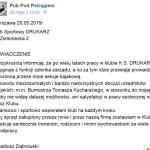 Właściciel Pubu Pod Pstrągiem odchodzi z KS Drukarz i planuje protest