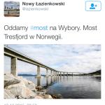 """""""Oddamy most na wybory"""". Burza po wpisie wykonawcy Łazienkowskiego"""
